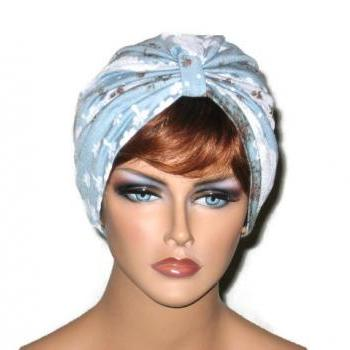 Blue and White Handmade Single Knot Turban