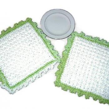 White and Green Hand Crocheted Decorative Cotton Dishcloths or Washcloths