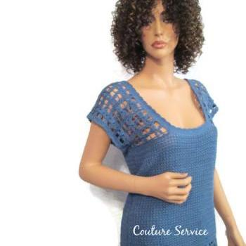 Blue Hand Crocheted Lace Flower Long Summer Top Size 3X